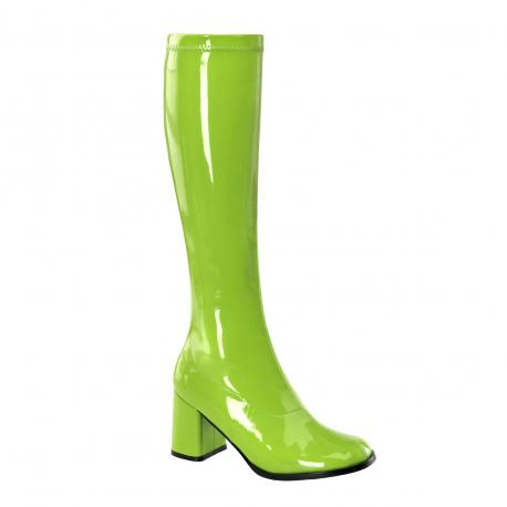 Botte verte vernis en stretch pour femme - talon carré - grande taille du 35 au 46