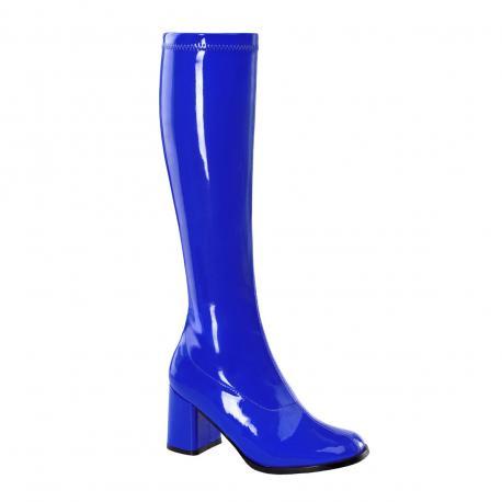 Botte bleu vernis en stretch pour femme - talon carré - grande taille du 35 au 46