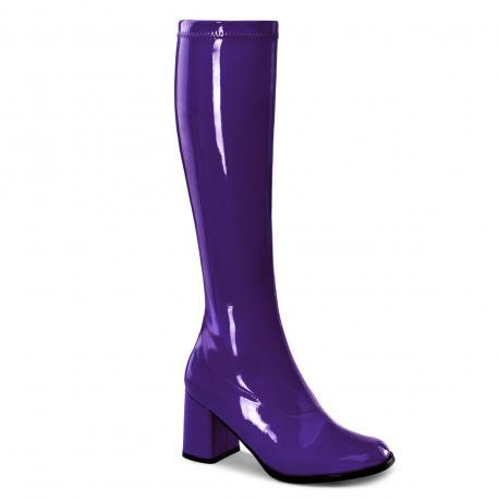 Botte violette vernis en stretch pour femme - talon carré - grande taille du 35 au 46
