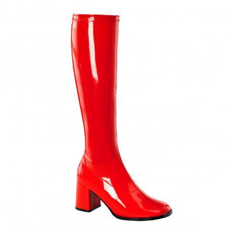 Botte rouge vernis en stretch pour femme - talon carré - grande taille du 35 au 46