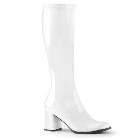 Botte blanche vernis en stretch pour femme - talon carré - grande taille du 35 au 46