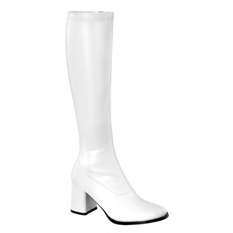 Botte blanc mat en stretch pour femme - talon carré - grande taille du 35 au 46