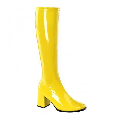 Botte jaune vernis stretch pour femme - talon carré - grande taille du 35 au 46