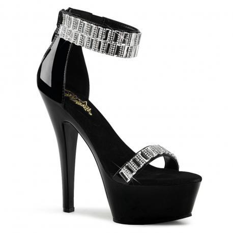 Sandale luxe plateforme noire et strass KISS-269RS