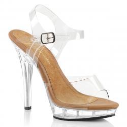 Sandale transparente à talon aiguille et plateforme plexi
