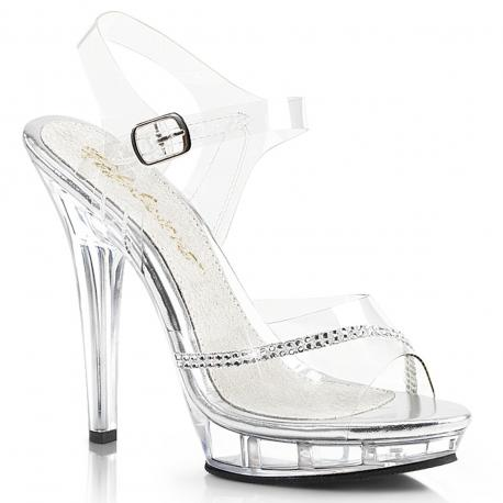 Sandale de soirée transparente avec liseré de strass