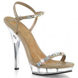 Sandale strass bijou à haut talon plexi et bride cheville