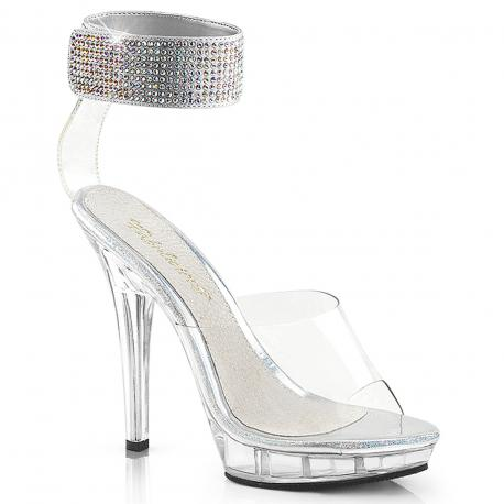 Sandales bijoux transparentes à talon haut plexi