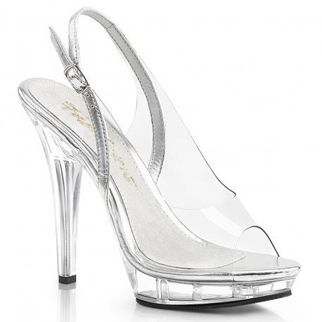Sandale transparente talon aiguille en plexiglas LIP-150