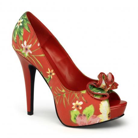 Escarpin fleuri à plateforme rouge et avec nœud Pin up et bout ouvert du 34 3/4 au 41