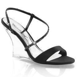 Sandale compensée transparente LOVELY-417 Noir