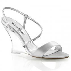 Sandale argentée incrustée de strass avec semelle compensée transparente LOVELY-417