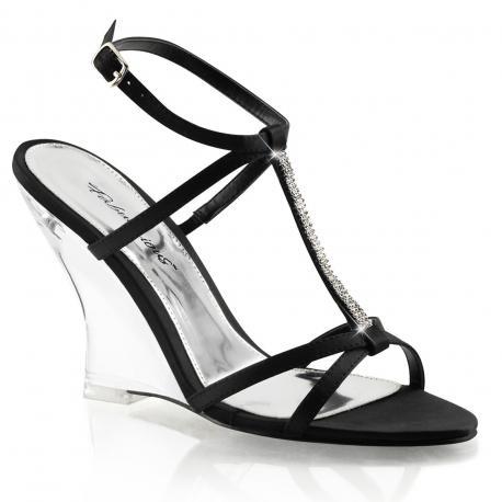 Sandale noire avec semelle compensée transparente en plexiglass LOVELY-428