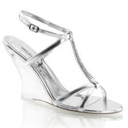Sandale argentée avec semelle compensée transparente en plexiglass LOVELY-428