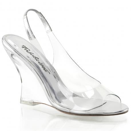 Sandale compensée transparente et argentée à bout ouvert