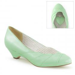 "Chaussure pin up escarpin vert pastel glamour petit talon "" kitten heel "" vintage - vegan"