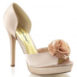 Escarpin nœud fleuri champagne à plateforme et talon 12 cm