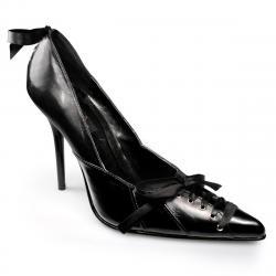 Escarpin cuir noir à bout pointu sexy et lacets grande taille du 35 au 44
