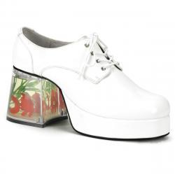 Chaussure blanche année 70 homme à plateforme et haut talon déguisement