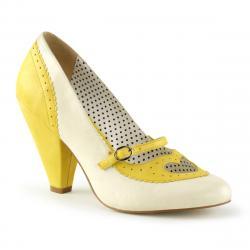 Escarpin vintage jaune et blanc à talon conique 9 cm