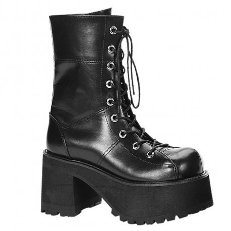 """Bottes gothique noire style """"ranger's"""" à plateforme et lacet femme"""