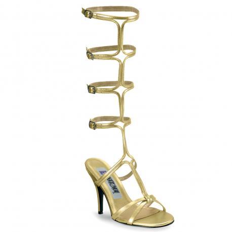 Sandale spartiate dorée à talon aiguille