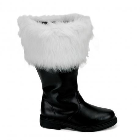 Botte Père Noel noire à fourrure blanche spécial Mollet fort & grande taille