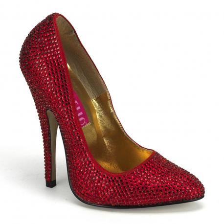Escarpin de soirée rouge entièrement recouvert de strass iridescent talon fin de 14 cm
