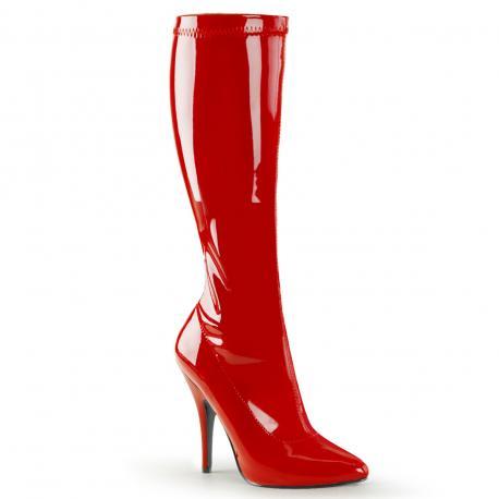 Botte haute rouge vernis à talon femme grande pointure du 36 au 46