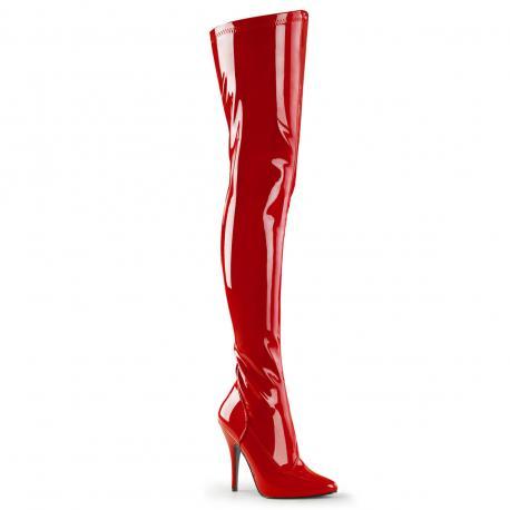 Cuissarde femme rouge vernis vinyl talon aiguille sexy grande taille du 36 au 42 1/2 - vegan