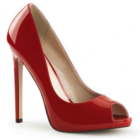 Escarpins 12 cm de talon à bout ouvert rouge vernis sexy et grande taille du 35 au 44 - vegan