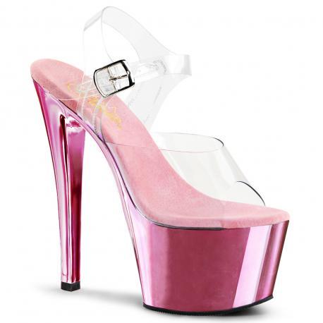 Sandale transparente à plateforme rose chromée et talon de 18 cm