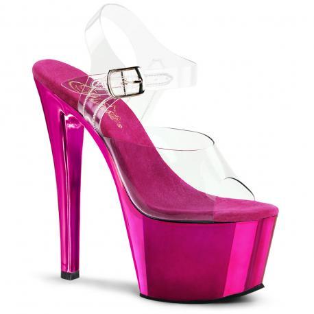 Sandale plateforme transparente et rose SKY-308