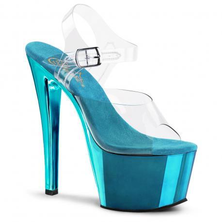 Sandale plateforme transparente et bleu SKY-308