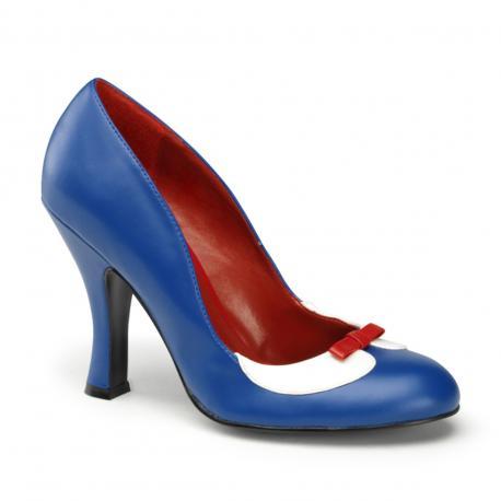 Escarpin pin up vintage petit talon bleu et blanc à nœud rouge