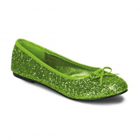 Ballerine verte claire pailletée à noeud vegan adulte du 35 au 42 1/2