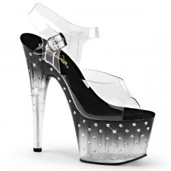 Sandale plateforme noire et strass avec talon 18 cm