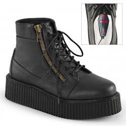 Boots creepers montante noire mat Demonia unisexe