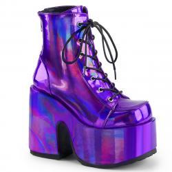 Bottine gothique violet iridescent à gros talon chunky et plateforme à lacets | Demonia femme