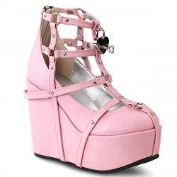 boots - bottine gothique rose lolita compensée