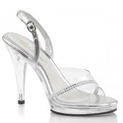 Sandale transparente et argentée à strass avec talon aiguille et plateforme en plexi et bride cheville grande taille du 35 au 46