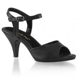 Sandale noire mat petit talon grande taille du 35 au 46