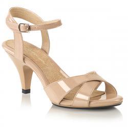 Sandale nude ( beige/rose pale) avec talon moyen et bride cheville, petite et grande taille du 35 au 46