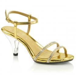 Sandales dorées à talon transparent incrustées de strass grande taille du 35 au 46