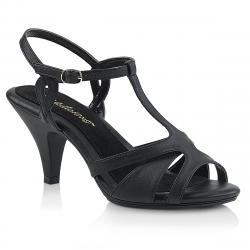 Sandale talon moyen 7 cm noire mat petite et grande taille du 34 3/4 au 46