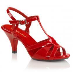 Sandale talon moyen 7 cm rouge petite et grande taille du 34 3/4 au 46