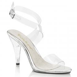 Sandale transparente à talon aiguille plexiglas avec bride cheville croisée
