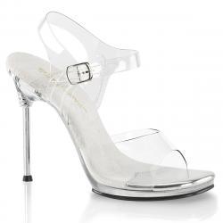 Sandale transparente à haut talon stiletto et bride cheville