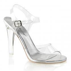 Sandales argentées et transparentes haut talon plexi à bride cheville