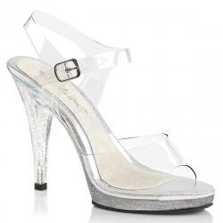 Sandale transparente talon haut à bride cheville et semelle argentée grande taille 40 au 46